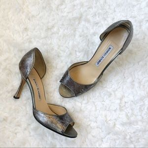 Manolo Blahnik Silver Metallic Pumps Heels Shoes